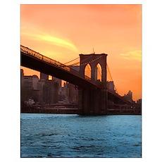 Brooklyn Bridge Sunset Print Poster