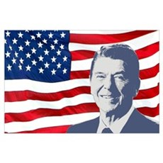 Reagan and Flag Wall Art Poster