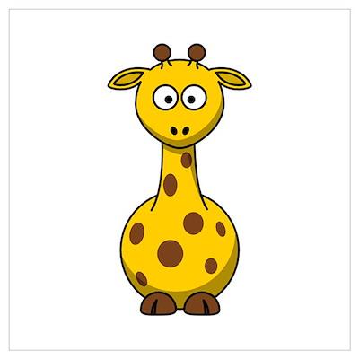 Cartoon Giraffe Wall Art Poster