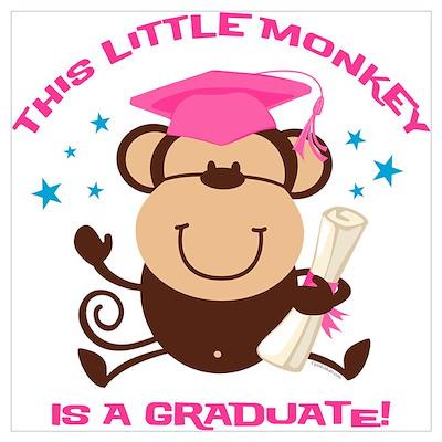 Girl Monkey Graduate Wall Art Poster