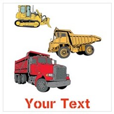Works Site Vehicles and Text Wall Art Poster