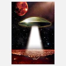 UFO over city Wall Art