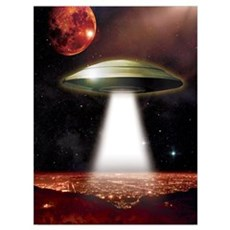UFO over city Wall Art Framed Print