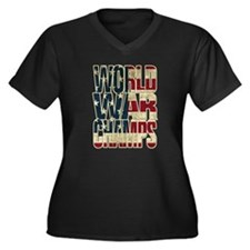 Unique Back back world war champions Women's Plus Size V-Neck Dark T-Shirt