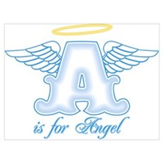 A is for Angel Blue Wall Art Poster