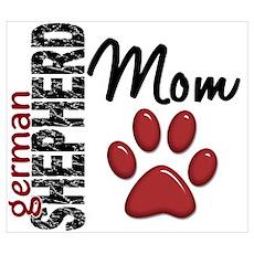 German Shepherd Mom 2 Wall Art Poster
