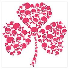 Pink Shamrock Skulls Wall Art Poster
