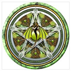 Celtic Earth Dragon Pentacle Wall Art Poster