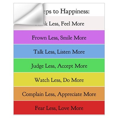 7 Steps to Happiness Poster Wall Decal
