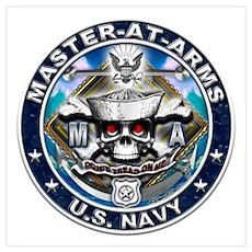USN Master-At-Arms Skull MA B Wall Art Poster