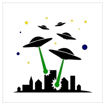 UFO Attack Wall Art Poster