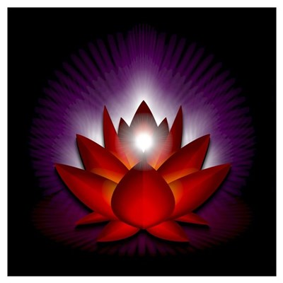 "Red ""Root"" Chakra Lotus Wall Art Poster"