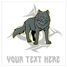 Cool Wolf and Gray Text. Wall Art Poster