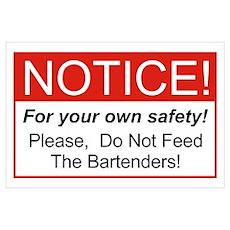 Notice / Bartenders Wall Art Poster