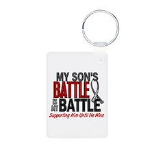 My Battle Too Brain Cancer Aluminum Photo Keychain
