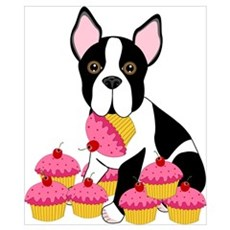Boston Terrier with Cupcakes Wall Art Poster
