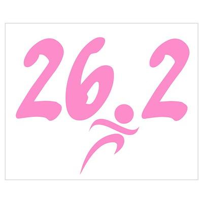 Pink 26.2 Marathon Wall Art Poster