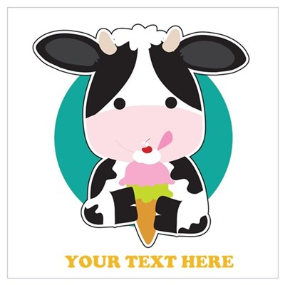 Cow Ice Cream Wall Art Poster