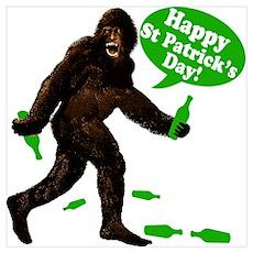 Happy St Patricks Day Bigfoot Wall Art Poster