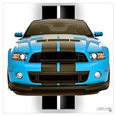 New Mustang Blue Wall Art Poster