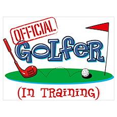 Boy Golfer In Training Wall Art Poster