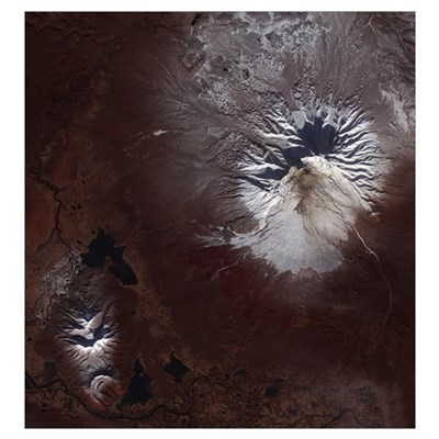 Ash stains on Russias Shiveluch volcano's slopes Canvas Art