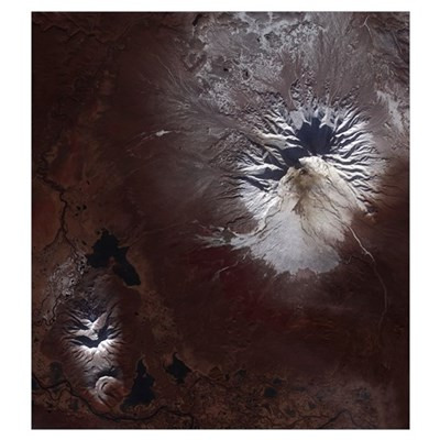 Ash stains on Russias Shiveluch volcano's slopes Poster