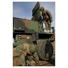 Marines prepare the antenna of an AN/TPQ 46A radar Poster