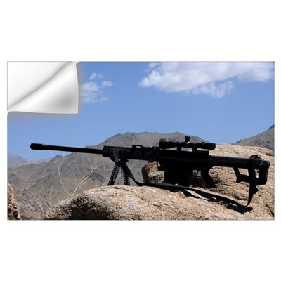 A Barrett .50-caliber M107 Sniper Rifle sits atop Wall Decal