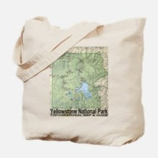 Yellowstone NP Topo Map Tote Bag