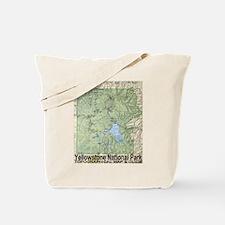 Yellowstone NP Topo Map Tote Bag