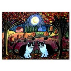 Two Cats And The Moon Wall Art Poster