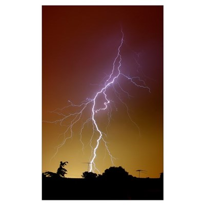 A bright bolt of lightning at the suburbs of Bueno Poster