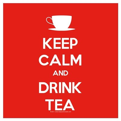 Keep Calm & Drink Tea (White on Red) Mini Poster P Framed Print