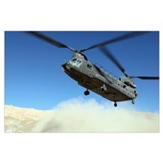 A CH-47 Chinook prepares to land Poster