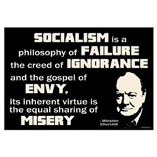 Churchill Socialism Quote Wall Art Framed Print