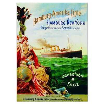 Poster advertising the Hamburg American Line, 1897 Poster