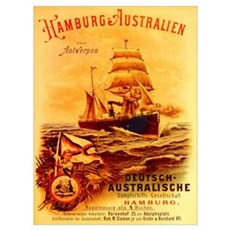 poster advertising the German Australian Steamship Poster
