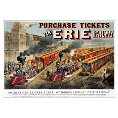 The American Railway Scene at Hornellsville, Erie Poster