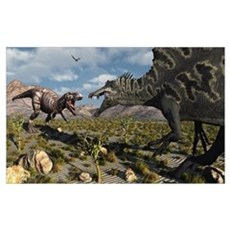 A confrontation between a T. Rex and a Spinosaurus Poster