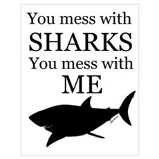 Don't Mess with Sharks Wall Art Poster