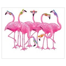 Cool Flamingoes Wall Art Poster