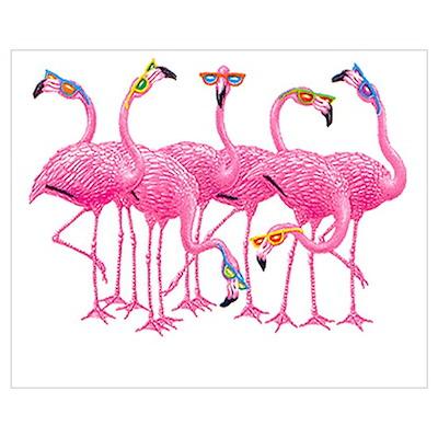 Cool Flamingoes Wall Art Poster