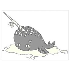 Sad Narwhal Wall Art Framed Print