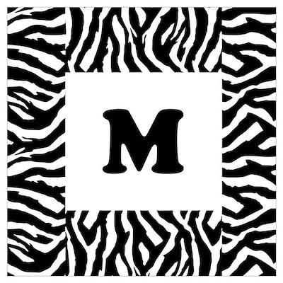 Zebra Print. Custom Letter. Wall Art Poster
