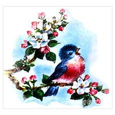 Vintage Bluebird Art Wall Art Poster
