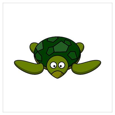 Cartoon Turtle Wall Art Poster