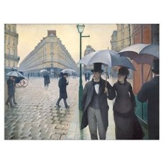Rainy Day in Paris, Caillebotte Wall Art Framed Print