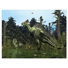 A Lambeosaurus rears onto its hind legs in respons Canvas Art