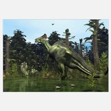 A Lambeosaurus rears onto its hind legs in respons
